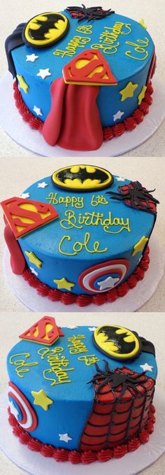 Villains wouldn't stand a chance against this superhero cake! // Superman, Batman, Spider-Man, and Captain America.