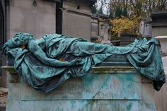 Balloonist's Tomb, Pere Lachaise Cemetery    Tomb Sculpture of Croce-Spinelli and Sivel, killed in a ballooning accident in 1875, Pere Lachaise Cemetery, Paris