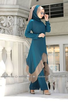 Verev Kesim Şallı Kombin İndigo&Mavi - Real Time - Diet, Exercise, Fitness, Finance You for Healthy articles ideas Modern Hijab Fashion, Muslim Women Fashion, Fashion Mode, Stylish Dresses For Girls, Stylish Dress Designs, Modest Dresses, Pakistani Dresses Casual, Pakistani Dress Design, Mode Abaya