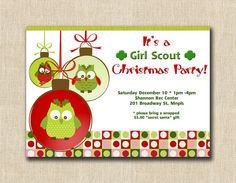 Owl Christmas Party  24 by StudioGStationery on Etsy, $48.00