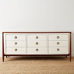 homenature - vintage nine drawer wood and brass dresser