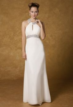 Chiffon wedding dress with jeweled collar, beaded empire waist with a keyhole front, and a drape cut out back.