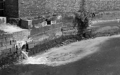 Waste water into the Ouse Burn, Newcastle upon Tyne; 2/7/1972 by geoff.allan, via Flickr