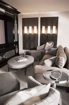 Art Deco Home Theater - Found on Zillow Digs - small cozy, intimate Media Room Design, Home Theater Design, Woman Cave, Art Deco Home, Luxury Interior Design, Home And Living, Living Rooms, Family Rooms, Luxury Homes