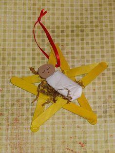 Baby Jesus popsicle stick ornament