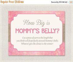 ON SALE MOMMY'S Belly How Big is Mommys Belly  by PixieBabyShower
