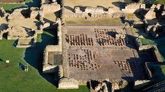 Aerial view of the Roman remains at Wroxeter Roman city - mainly of the bathhouse.
