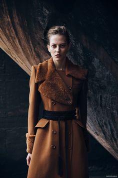 Lara Behnisch photographed by Andrea D'Aquino. Look - Coat Bottega Veneta and Belt Maje