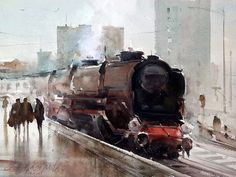 Dusan Djukaric, Old Maestro, Watercolour, 41x31cm Watercolor Artists, Watercolor Landscape, Artist Painting, Watercolour Painting, Watercolors, Train Art, Old Trains, Traditional Paintings, Beautiful Paintings