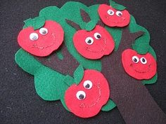felt board apple activity -  Apple Tree Poem  Way up high in the apple tree (stretch arm up high)  Five little Apples smiled at me (hold up 5 fingers)  I shook that tree as hard as I could (make a shaking motion)  Down came an apple, (make a downward motion)  Mmmm—it was good! (smile and rub stomach)      Repeat; count down till all the apple are gone.