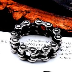 Stainless Steel Steel Link Motorcycle Chain Boy Rings Punk Rock Mens Biker Jewelry Love accessories Birthday Gifts - Men's style, accessories, mens fashion trends 2020 Sea Glass Jewelry, Jewelry Rings, Jewlery, Fashion Bracelets, Fashion Jewelry, Fashion Rings, Wedding Band Sets, Braided Bracelets, Types Of Rings