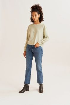 A classic sweatshirt made from our new airy loopback material, giving it the comfort of a sweater with the lightness of a tee. Designed with a dropped shoulder and relaxed body that hits at the hip. Knitwear, Style Me, Bell Sleeve Top, Normcore, Tees, Sweatshirts, Sweaters, Cotton, T Shirts