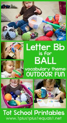 School ~ 23 Months…Letter Bb Tot School Printables Letter B is for Ball ~ a free program for toddlers from CarisaFree Free may refer to: Letter B Activities, Toddler Activities, Learning Activities, Kids Learning, Toddler School, Toddler Classroom, Tot School, Alphabet Letter Crafts, Creative Curriculum
