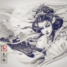 japanese with tattoos Geisha Tattoos, Geisha Tattoo Design, Tattoo Samurai, Buho Tattoo, Arte Lowrider, Arte Lowbrow, Art Minimaliste, Graffiti Tattoo, Fu Dog