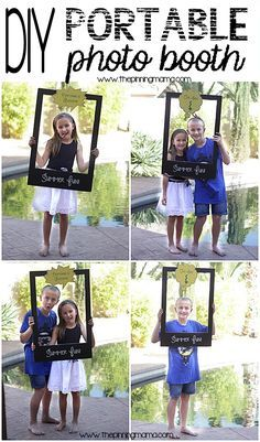 DIY Portable photo booth is perfect for end of school parties and hang outs this summer! DIY Portable photo booth is perfect for end of school parties and hang outs this summer! Photos Booth, Photo Booth Frame, Photo Booth Props, Diy Party Photo Booth, Diy Fotokabine, Easy Diy, Diy Crafts, Portable Photo Booth, Party Fotos