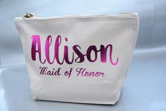 Customised name wedding bride tribe Bridesmaid maid of honor Makeup Gift Make Up comestic vanity Bags kits pouches party gifts Bridesmaid Gift Bags, Personalized Bridesmaid Gifts, Wedding Bride, Wedding Gifts, Vanity Bag, Festival Party, Maid Of Honor, Party Gifts, Cosmetic Bag