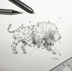 Creative artist Kerby Rosanes, an illustrator based in Manila, Philippines. Kerby Rosanes uses ink primarily in their drawings. For more drawings →View Website Ox Tattoo, Bison Tattoo, Tattoo Drawings, Art Drawings, Geometric Drawing, Geometric Shapes, Geometric Animal, Animal Sketches, Animal Drawings