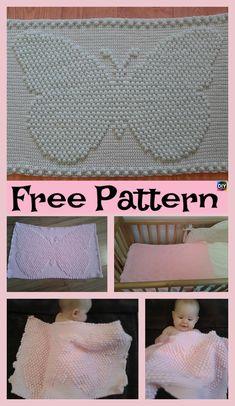 Crochet Butterfly puff Blanket – Free Pattern #freecrochetpatterns #butterfly #babygift #babyblanket