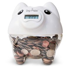 Welcome to the century of piggy banks. // The Digi-Piggy Digital Coin Counting Bank. Objet Wtf, Choses Cool, Counting Coins, Counting Money, Digital Coin, Teen Girl Gifts, Christmas Gifts For Teen Girls, Birthday Gifts For Teens, Cool Birthday Gifts