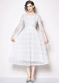 83d0938274 Vestido Renda Branco Midi Manga Longa