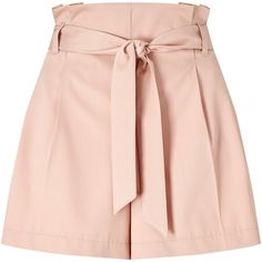 Miss Selfridge Belted Shorts, Pink ($22) ❤ liked on Polyvore featuring shorts, skirts, bottoms, pants, belted shorts, pink shorts, pleated shorts, shiny shorts and short shorts
