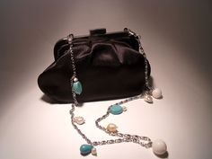 Black satin clutch with chain, pearls, turquoise and madrepora