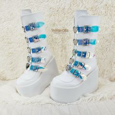 Goth Platform Shoes, Platform Boots Outfit, Goth Boots, Kawaii Shoes, Aesthetic Shoes, White Boots, Dream Shoes, Mid Calf Boots, Looks Cool