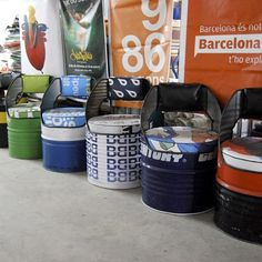Oil barrels converted into seating. Design by Vaho in Barcelona. Comfy too! http://vaho.ws/en/proyectos/mobiliario