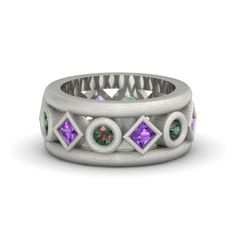 18K White Gold Ring with Amethyst & Alexandrite   Tigranes The Great Ring   Gemvara