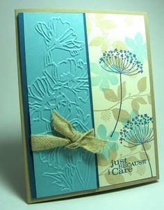 Stampin' Up! stamp set Summer Silhouettes, Flower garden embossing folder; stamping up north use       Manhattan Rose