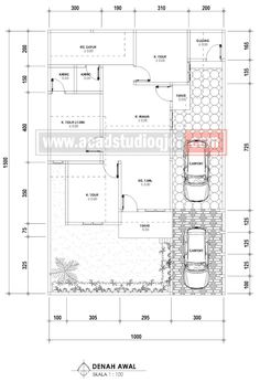 Desain Rumah Ukuran 10x15 Type Cluster - Ibu Dwisewaty - Jasa Desain Rumah 30x40 House Plans, Home Design Plans, Modern Houses, Autocad, My Dream Home, Toilet, Modern Design, Sweet Home, Floor Plans
