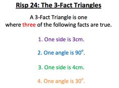 RISP 24 - 3 fact triangles Exam Papers, Trigonometry, One Sided, Triangles, Facts