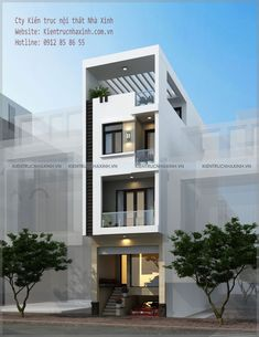 Mẫu thiết kế nhà phố 5,5m x 5 tầng House Outer Design, Flat House Design, 3 Storey House Design, Narrow House Designs, Modern Small House Design, Narrow House Plans, Small House Exteriors, Duplex House Design, House Front Design