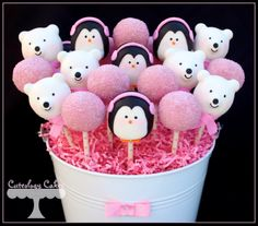 Winter themed Gender Reveal Cake pops with penguins and polar bear cake pops- the girls. www.facebook.com/i.love.cuteology.cakes