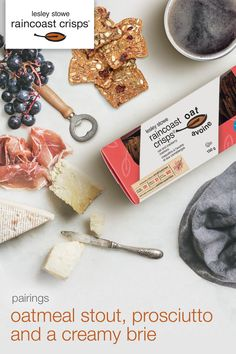 Pairings | lesley stowe raincoast oat crisps™ oat and cranberry with a dark and nutty oatmeal stout Brie, Prosciutto, Oatmeal, Pairs, Cheese, Food, Side Dishes, The Oatmeal, Rolled Oats