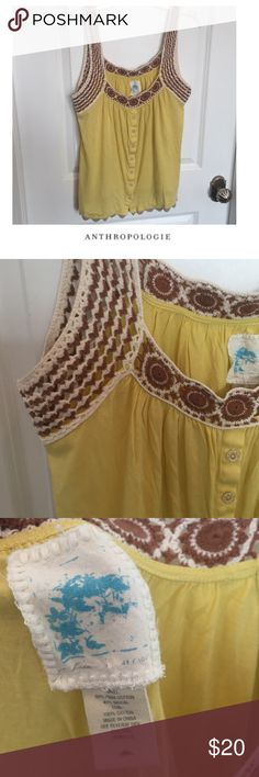 Anthropologie C. Keer Yellow Crochet Tank Anthropologie C. Keer Yellow Brown & Cream Crochet Scallop Trim Tank. Faux Buttons. Gently worn. Great condition. Feel free to make an offer or bundle & save! Anthropologie Tops Tank Tops