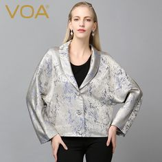 Find More Trench Information about VOA silk yarn dyed jacquard straight trench curved bat sleeve loose unlined single breasted coat W5399,High Quality coat sport,China coat winter Suppliers, Cheap coat cloak from VOA Flagship Shop on Aliexpress.com