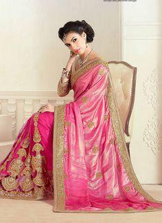 Hypnotic Pink Zari Work Georgette Designer Saree | Whats Up No. +918238311448  |    http://www.ethnicnx.com/sarees/hypnotic-pink-zari-work-georgette-designer-saree-8148