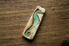 Seafoam Rustic Seahorse Tall Polymer Clay Pendant by SummerWindArt, $10.00