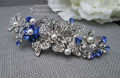Bridal Hair Comb Blue Wedding Accessory Sapphire Crystal Swarovski ...