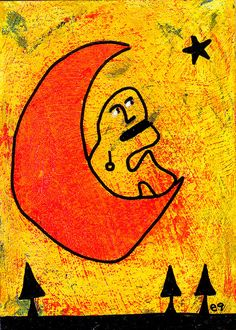 call and response e9Art Moon Star Outsider Art Brut Naive Primitive Painting #OutsiderArt
