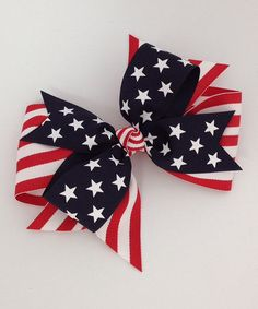 Another great find on #zulily! Navy & Red Stripes & Stars Layered Bow Clip #zulilyfinds
