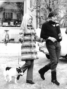 Brigitte Bardot, shopping with husband Gunter Sachs in Gstaad, looks ultra-chic in a fur coat, 1966.Photo Credit:Russell Turiak/Liaison via @stylelist