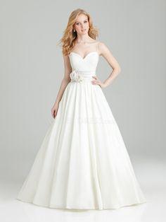 A line Lace & Taffeta Floor Length Spaghetti Straps Wedding Dress With Sash/ Ribbon