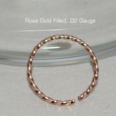 NOSE RING, Small 14k Rose Gold Filled Septum Ring, Hoop Earring, 22 Gauge Cartilage Earring, Septum Piercing septum jewelry, tragus,ear ring