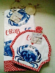 Coastal Kay Dee Blue Crab Terry Kitchen Towel & Potholder Set 2 Beach Collection #KayDeeDesigns