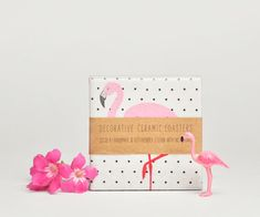 Pink Flamingo Ceramic Coasters on Polka Dots Summer Tropical, set of 4