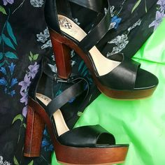 Shoes by Vince Camuto Black platform heels, wooden heels by Vince Camuto Vince Camuto Shoes Heels