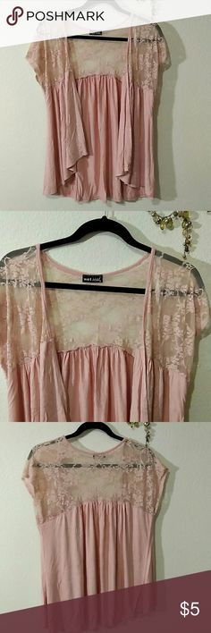 Pink lace wet seal top Gently used. No size listed. L/xl Wet Seal Tops