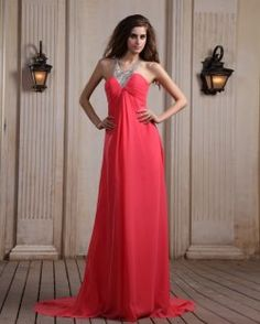 Chiffon Halter Neckline Chapel Train Column Evening Dress with Sequins Prom Dress 2014, Pink Prom Dresses, A Line Prom Dresses, Strapless Dress Formal, Evening Dresses, Bridesmaid Dresses, Formal Dresses, Dresses 2014, Floaty Dress